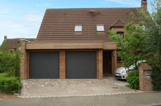 Extension double garage en Afrormosia