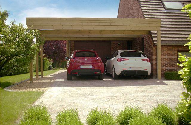 Dubbele aanbouw carport