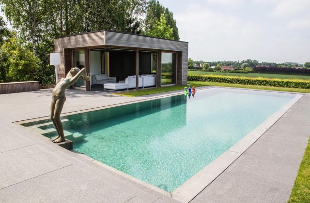 Pool house Moderne en bois Afrormosia
