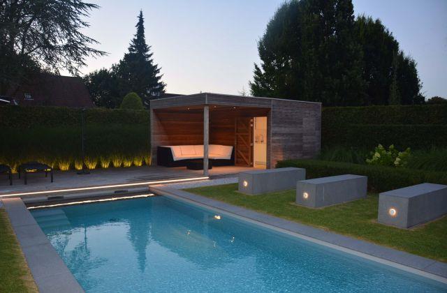 Pool house en bois avec pergola