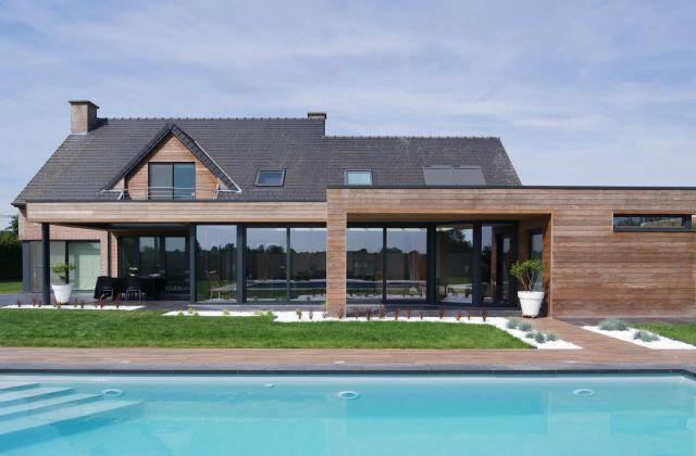 Extension véranda mixte en bois et aluminium