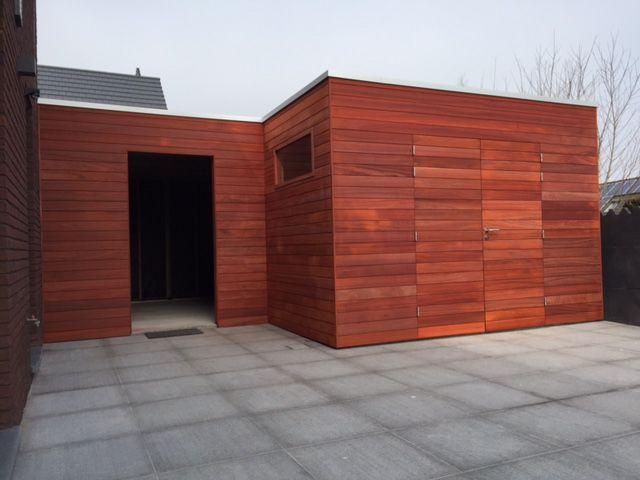 Modern tuinhuis in exotisch hout Padoek
