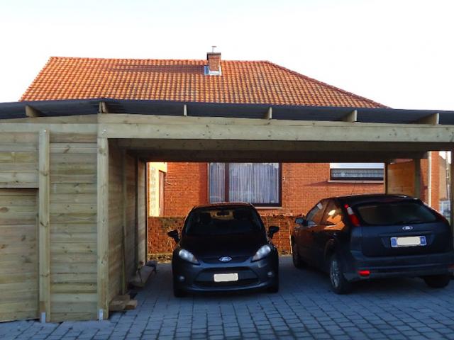 Dubbele houten carport met berging