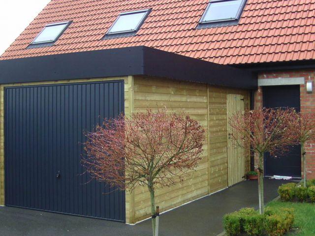 Moderne garage met dakrand in Trespa