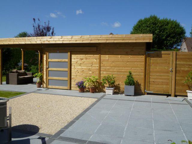 Abri de jardin moderne à toit plat