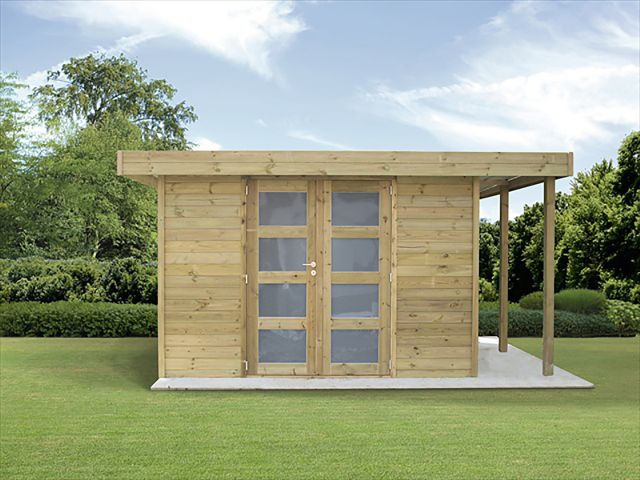 Moderne Tuinhuis met houtstapelplaats