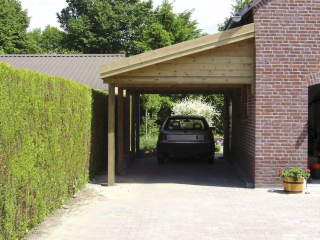 Carport adossé en bois, pente simple