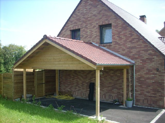 Un carport en bois de 1 re qualit veranclassic - Carport double pente ...