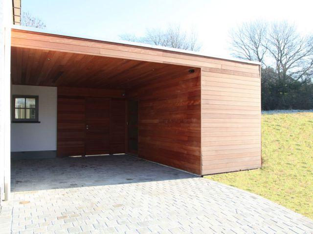 Carport adossé avec abri de jardin