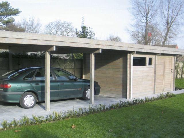 Carport indépendant en bois, avec toit plat et abri de jardin