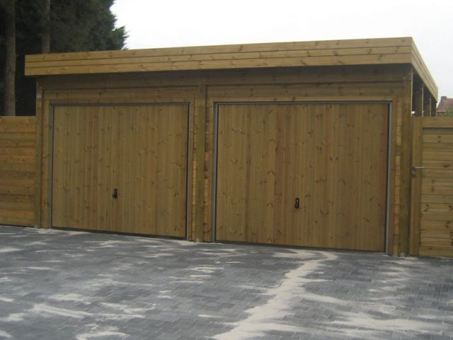 Dubbele houten carport