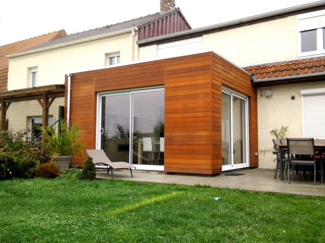 Uitbouw veranda in aluminium en hout