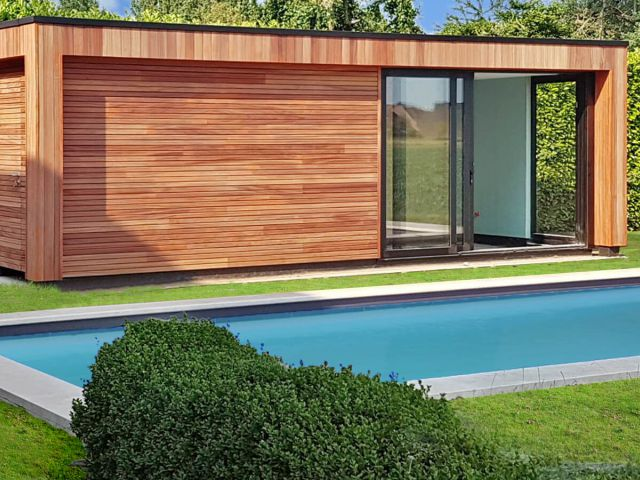 Pool house moderne en Padouk
