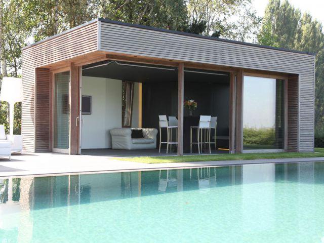 Pool house avec 2 baies coulissantes sans poteaux d'angle