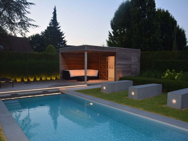 Houten poolhouse met pergola