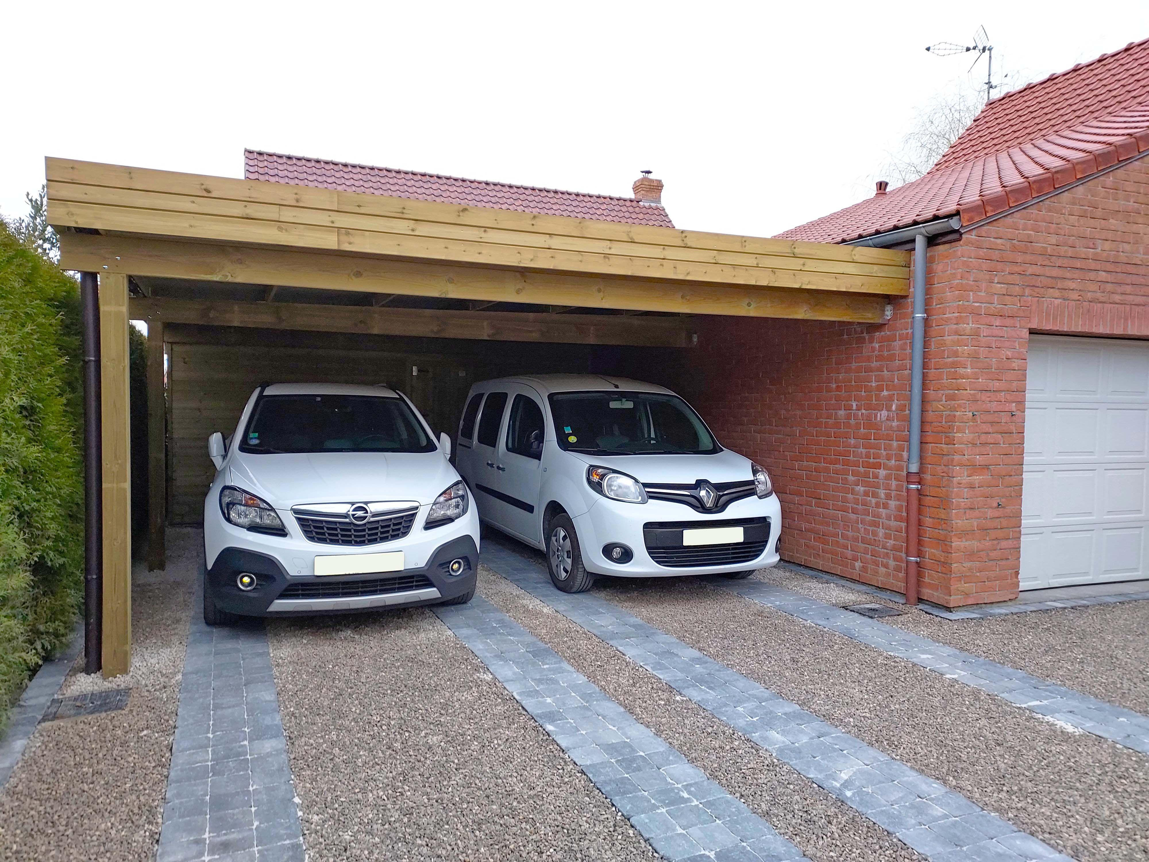 Double Carport Moderne en Bois
