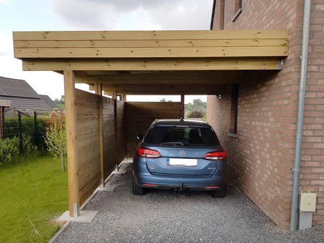 Aangebouwde Moderne Houten Carport