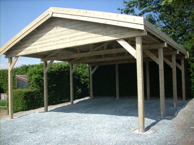 Double carport indépendant en bois, double pente