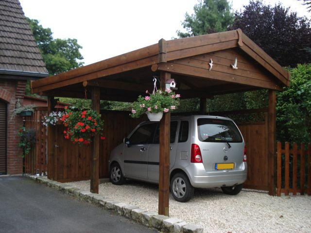 Carport indépendant en bois, double pente