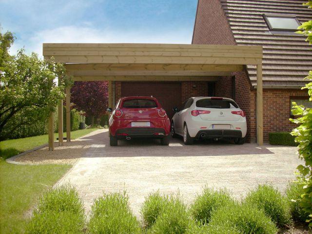 Dubbel carport aan huis