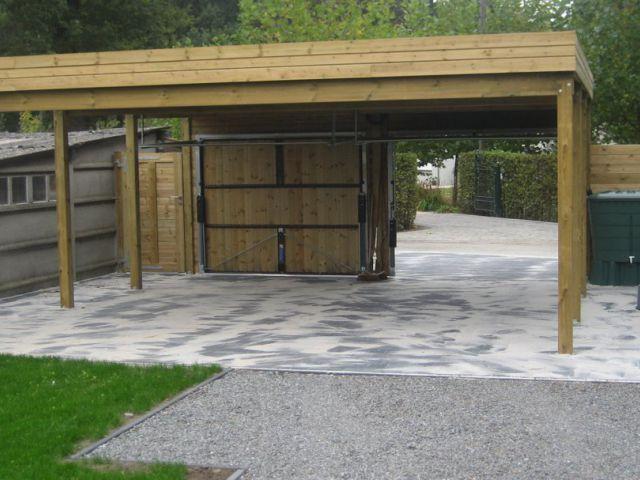 Dubbele carport met plat dak