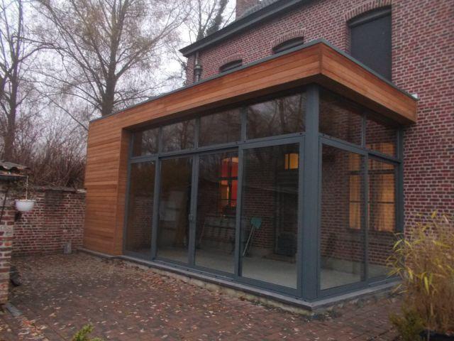 Uitbouw veranda in hout en aluminium
