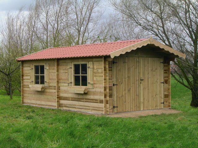 Garage en bois indépendant avec double porte