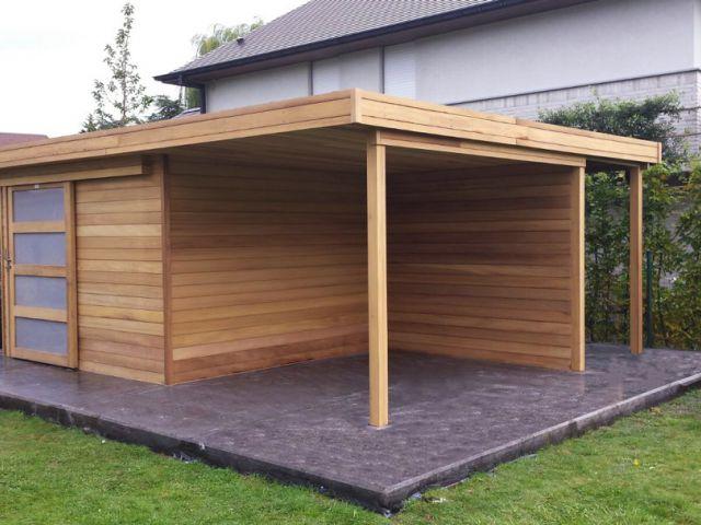 Modern tuinhuis in iroko hout   Tuinconstructie 3 x 3 m   Oversteek 3 x 2,5 m   Bucher 1,5 x 5,5 m
