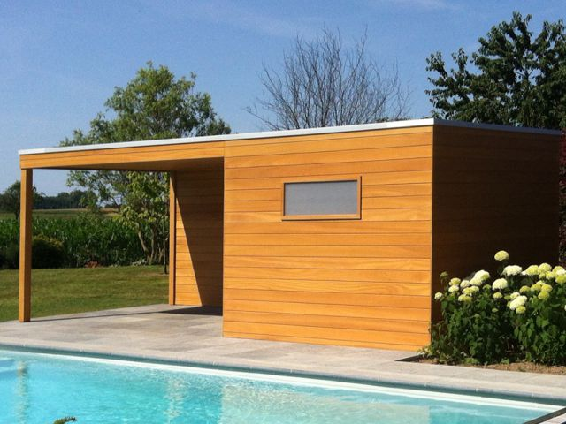 Poolhouse met terrasoverkapping