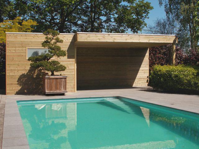 Poolhouse met terrasoverkapping