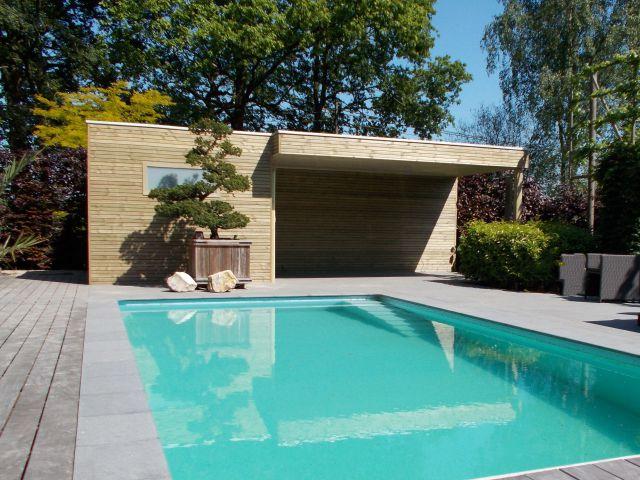Houten poolhouse met terrasoverkapping