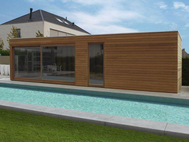 Modern poolhouse met plat dak
