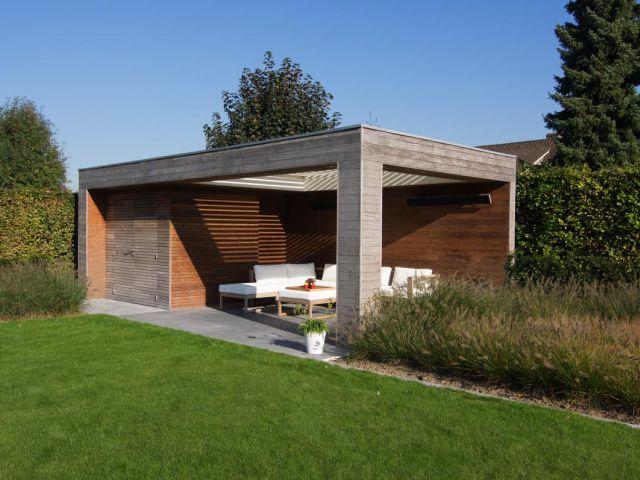 Pool house en bois exotique