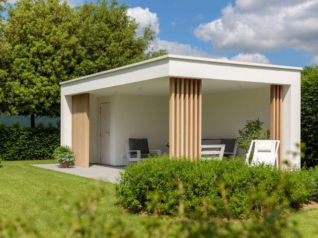 Moderne poolhouse met berging en luifel in witte crepi en met iroko palen
