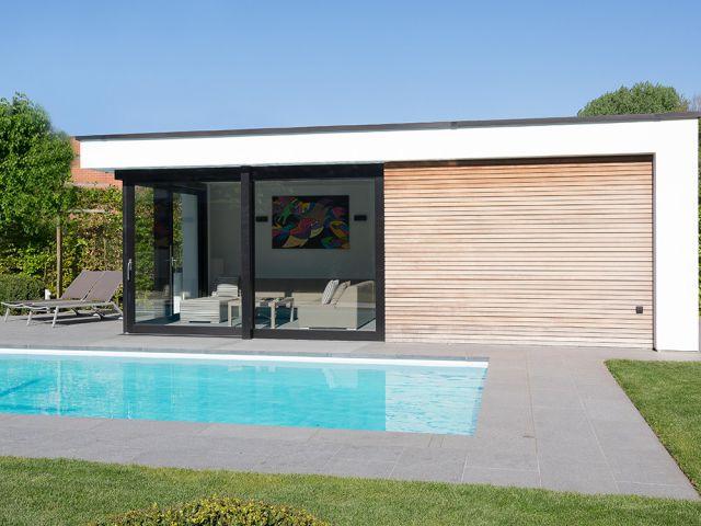 Poolhouse in crepi en hout