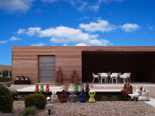 Modern houten poolhouse op maat