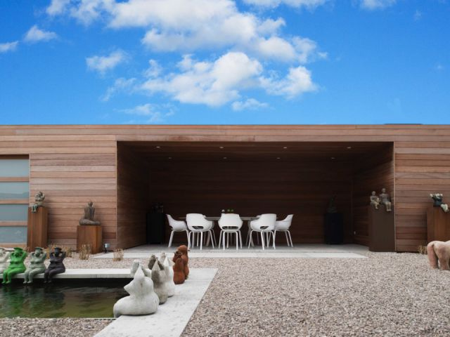 Pool house moderne à toit plat