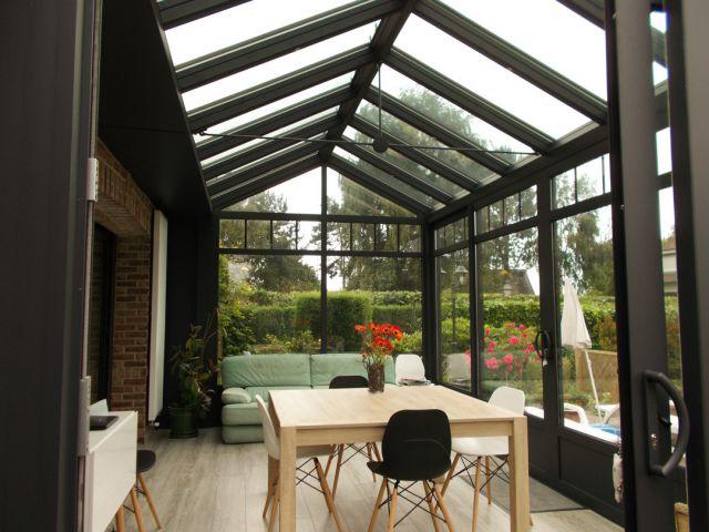 Zwartgrijze aluminium veranda orangerie