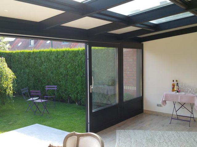 Houten veranda gelakt in kwartsgrijs RAL 7039