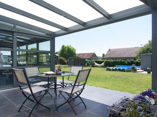 Veranda-pergola in aluminium met overdekt terras