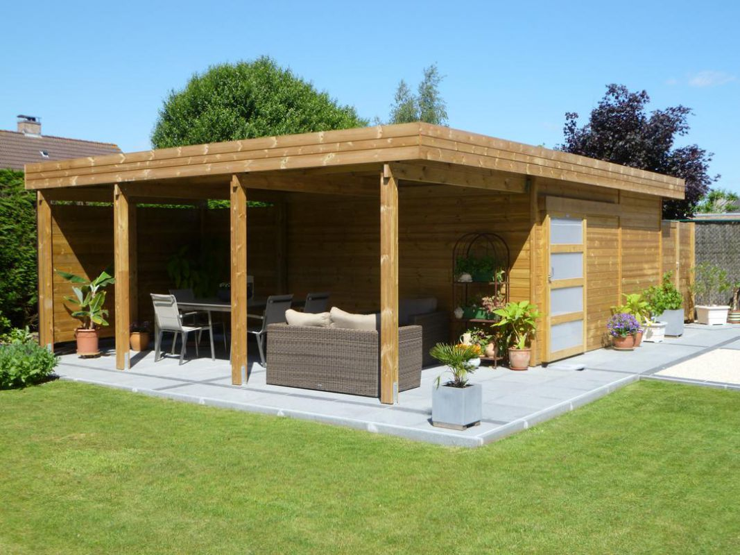 modern tuinhuis met overdekt terras veranclassic. Black Bedroom Furniture Sets. Home Design Ideas