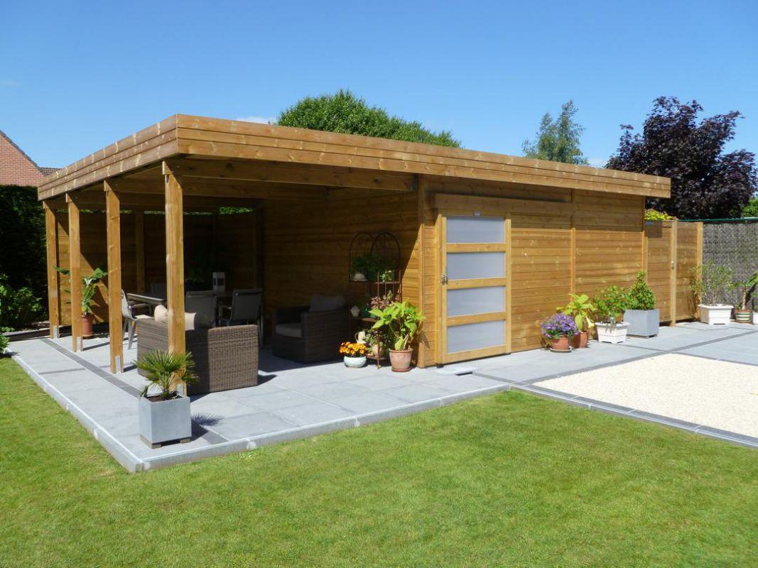 Modern tuinhuis met overdekt terras veranclassic - Overdekt terras in hout ...