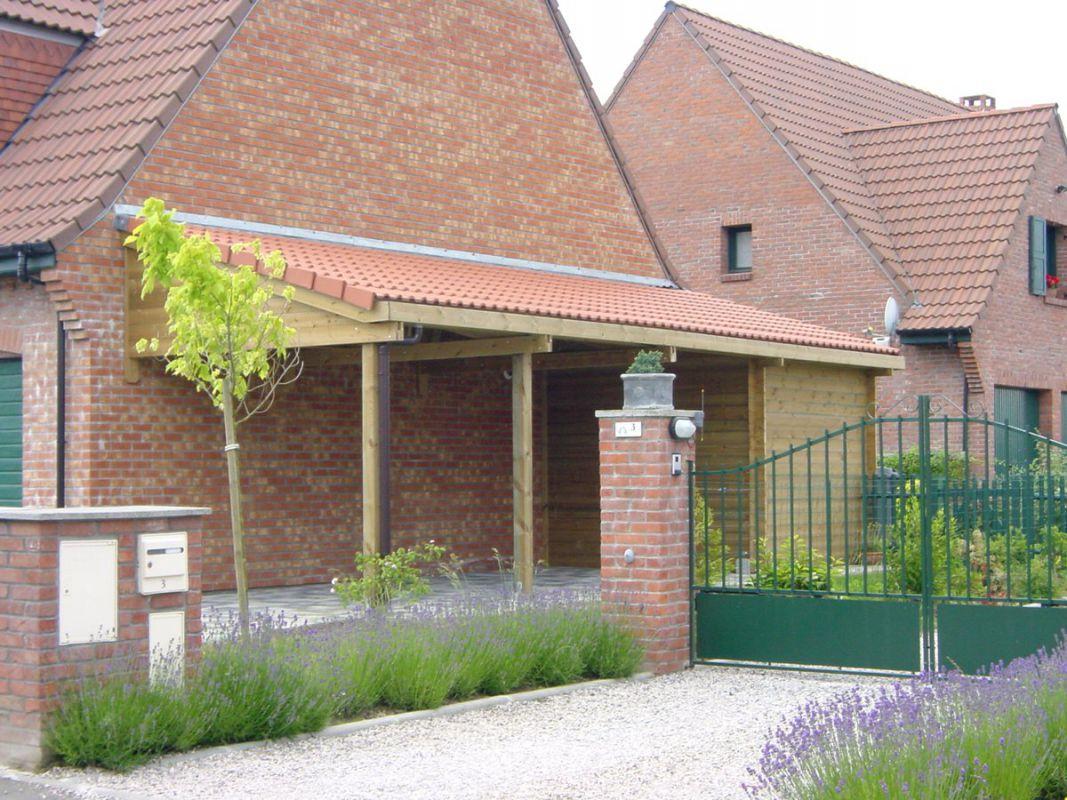 Veranclassic un carport en bois de 1 re qualit - Carport avec abri de jardin integre ...