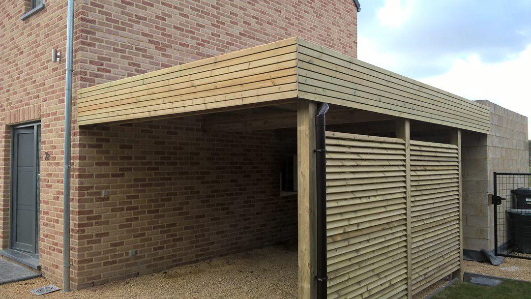 carport plat dak met dakomlijsting en wanden in veranprofil realisatie in rode noorse den hout