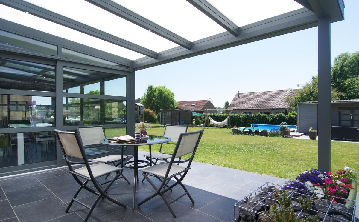 Veranclassic moderne veranda pergola in aluminium - Aluminium pergola met schuifdeksel ...